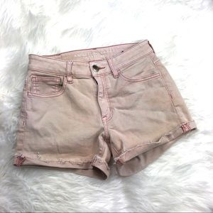 American Eagle high rise shortie pink wash Sz 2